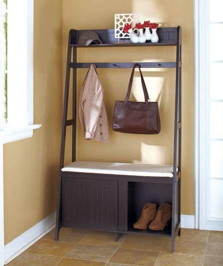 New Entryway Organizer Bench Seat Coat Rack Shoe Storage Unit Black Or Natural Schuhaufbewarung Schlafzimmer Aufbewahrung Speicherideen