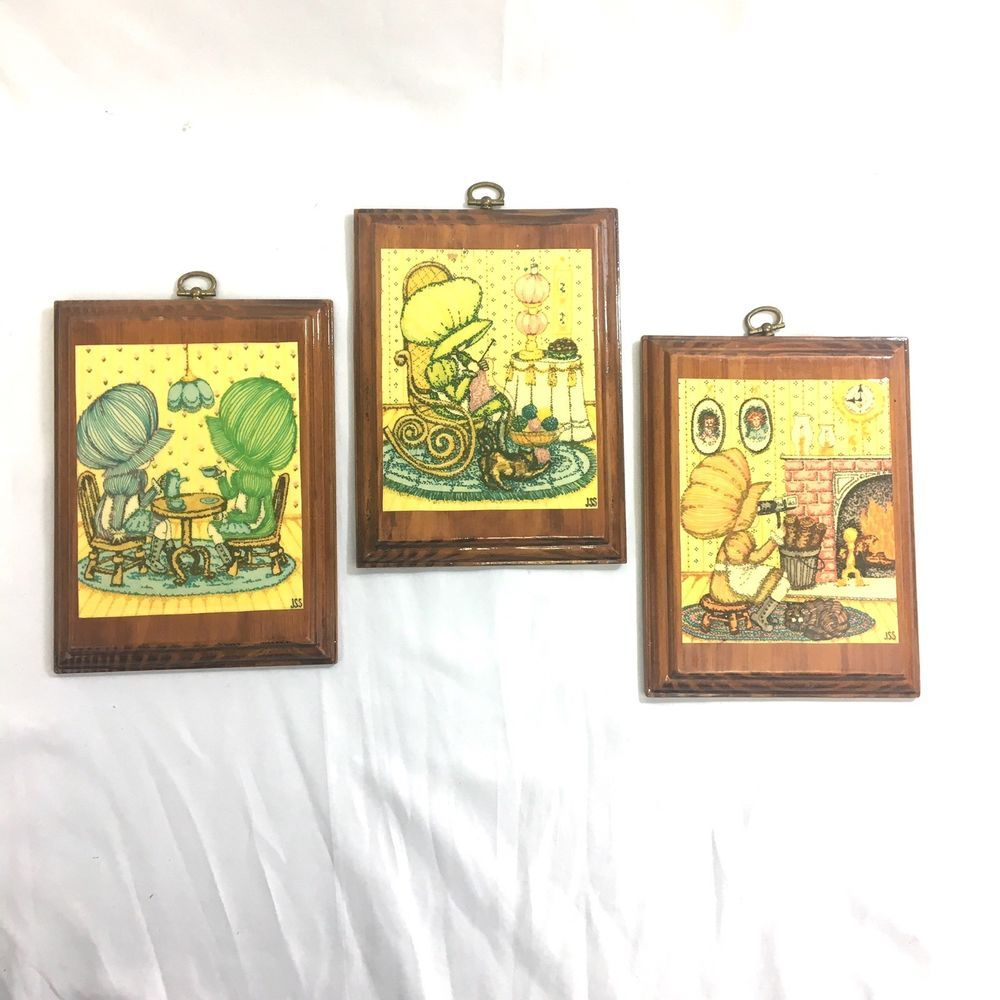 Vintage Holly Hobbie Wooden Wall Plaque Lot Three Plaques Sunbonnet ...