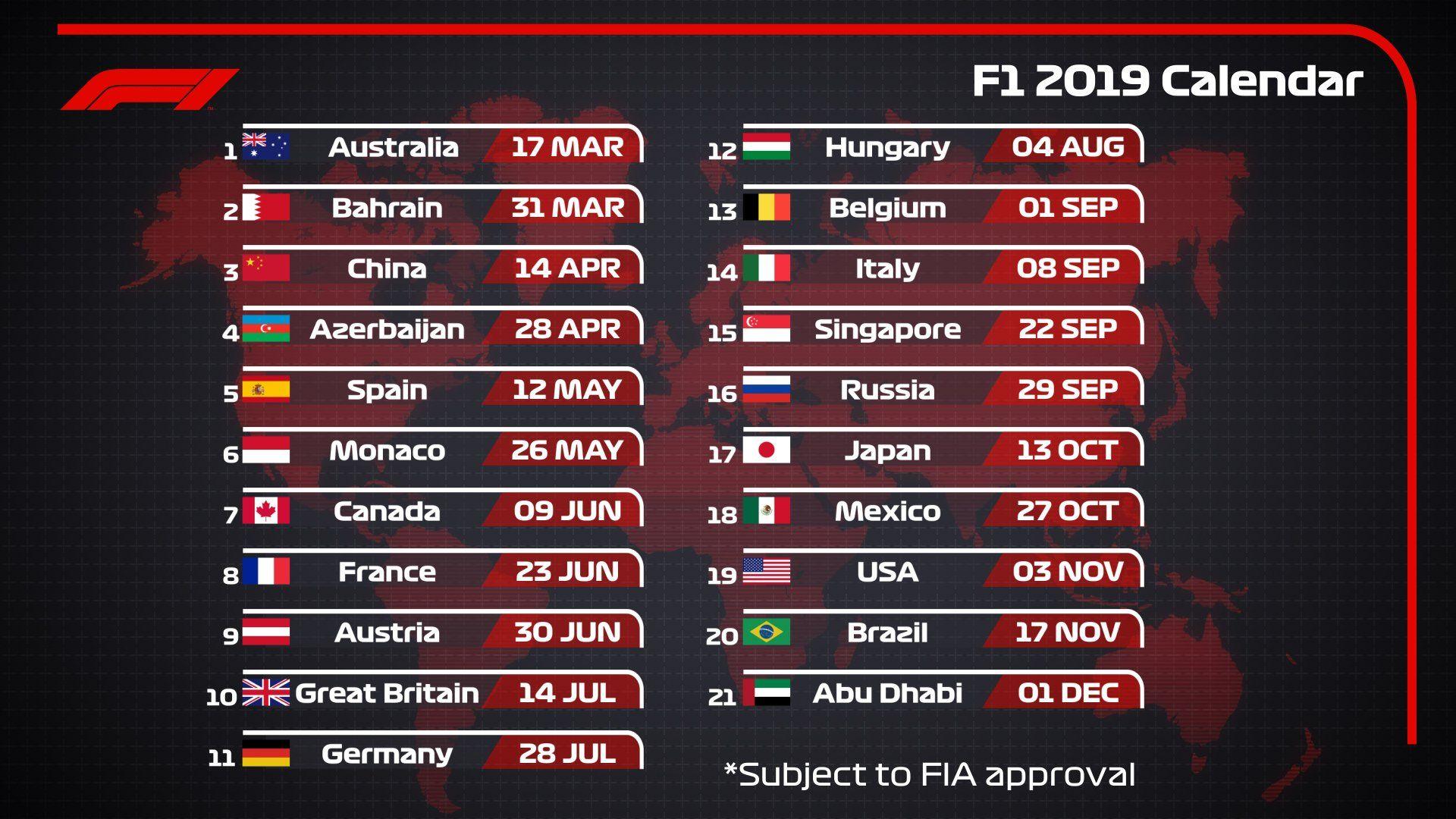 Formula One Calendar 2019 2019 F1 Calendar | F1 2018 | F1 schedule, Racing calendar, Formula 1