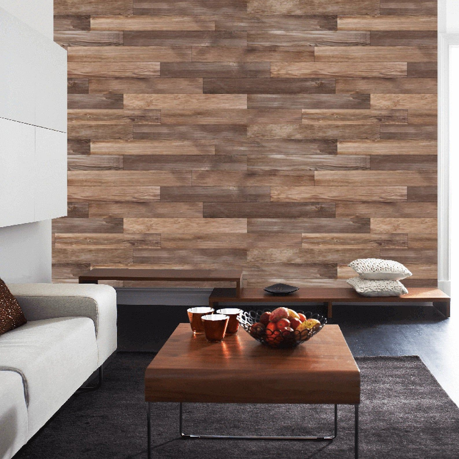 Peel And Stick Recycled Wood Wallpaper Removable Vintage Wood Etsy Wood Wallpaper Stick On Wood Wall Wood Walls Bedroom