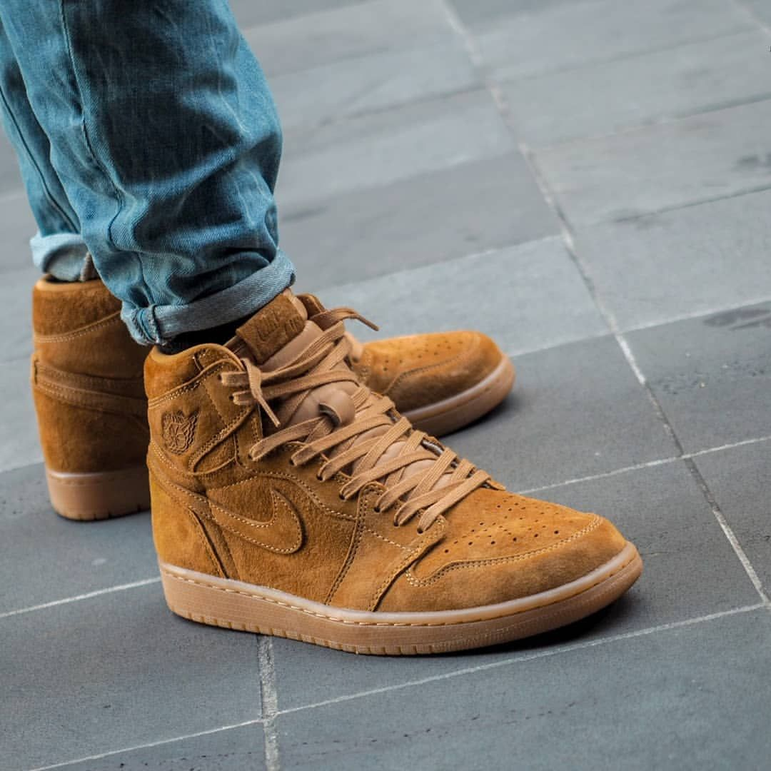 Nike Air Jordan 1 Wheat With Images Sneakers Men Fashion