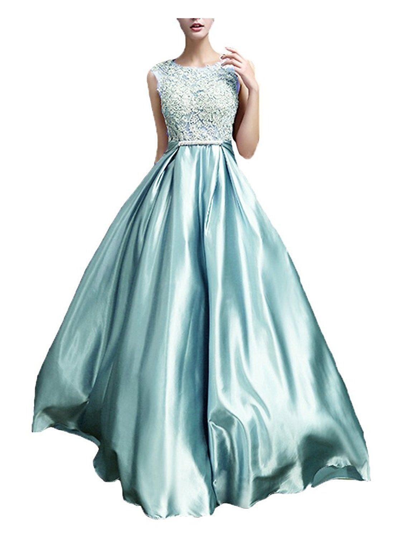 Icy Sun Women\'s Crew Sleeveless Applique Formal Evening Prom Dresses ...