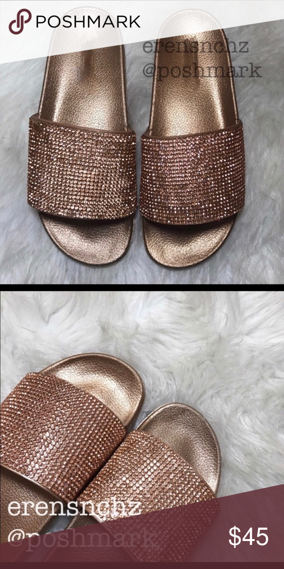 a9e995c1a LAST ONE Diamond Bling Embellished Slide Sandal 9 These edgy slide sandals  feature a wide band with sparkling rhinestones embellishment