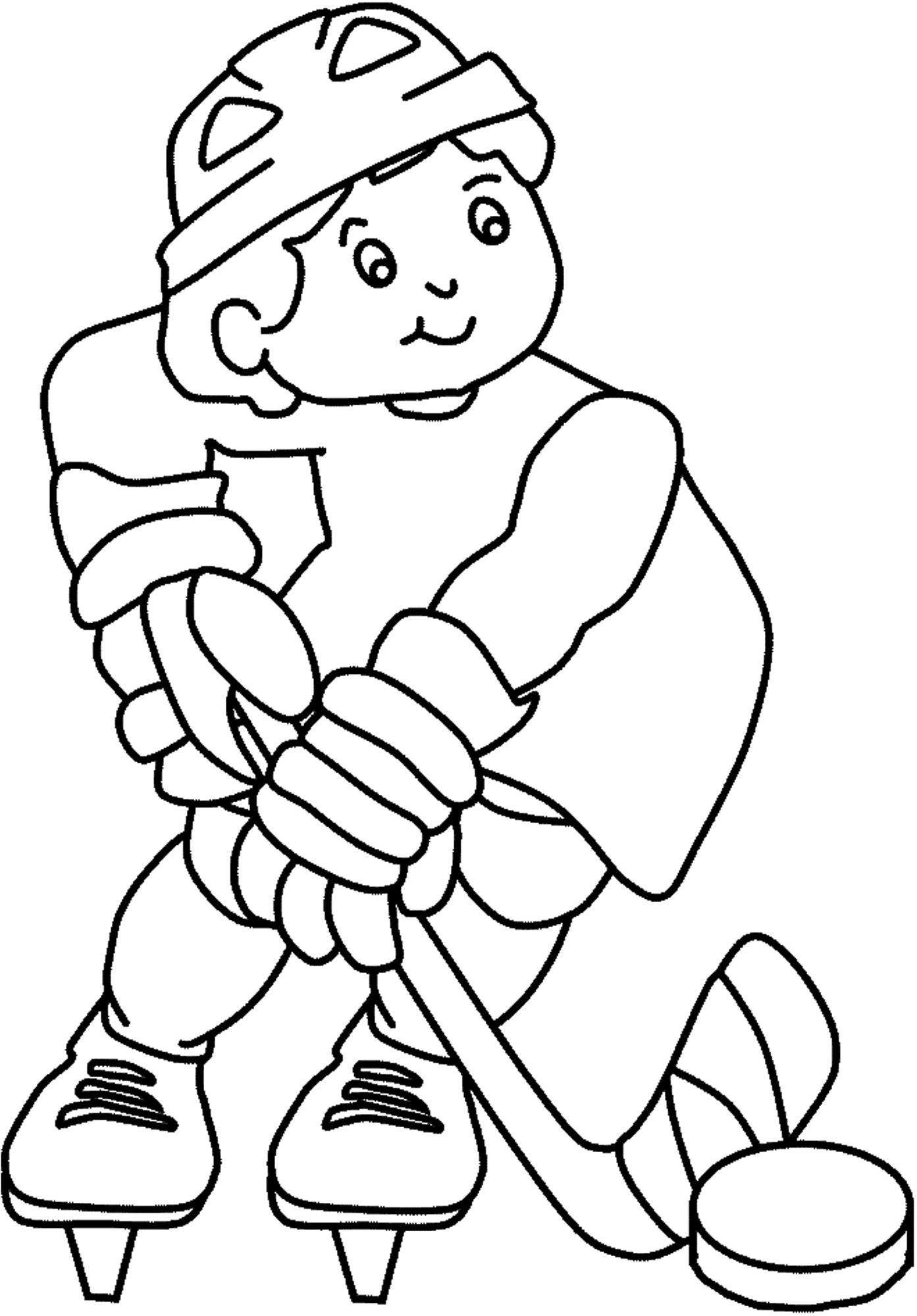 Happily Playing Hockey Coloring Picture For Kids Zima