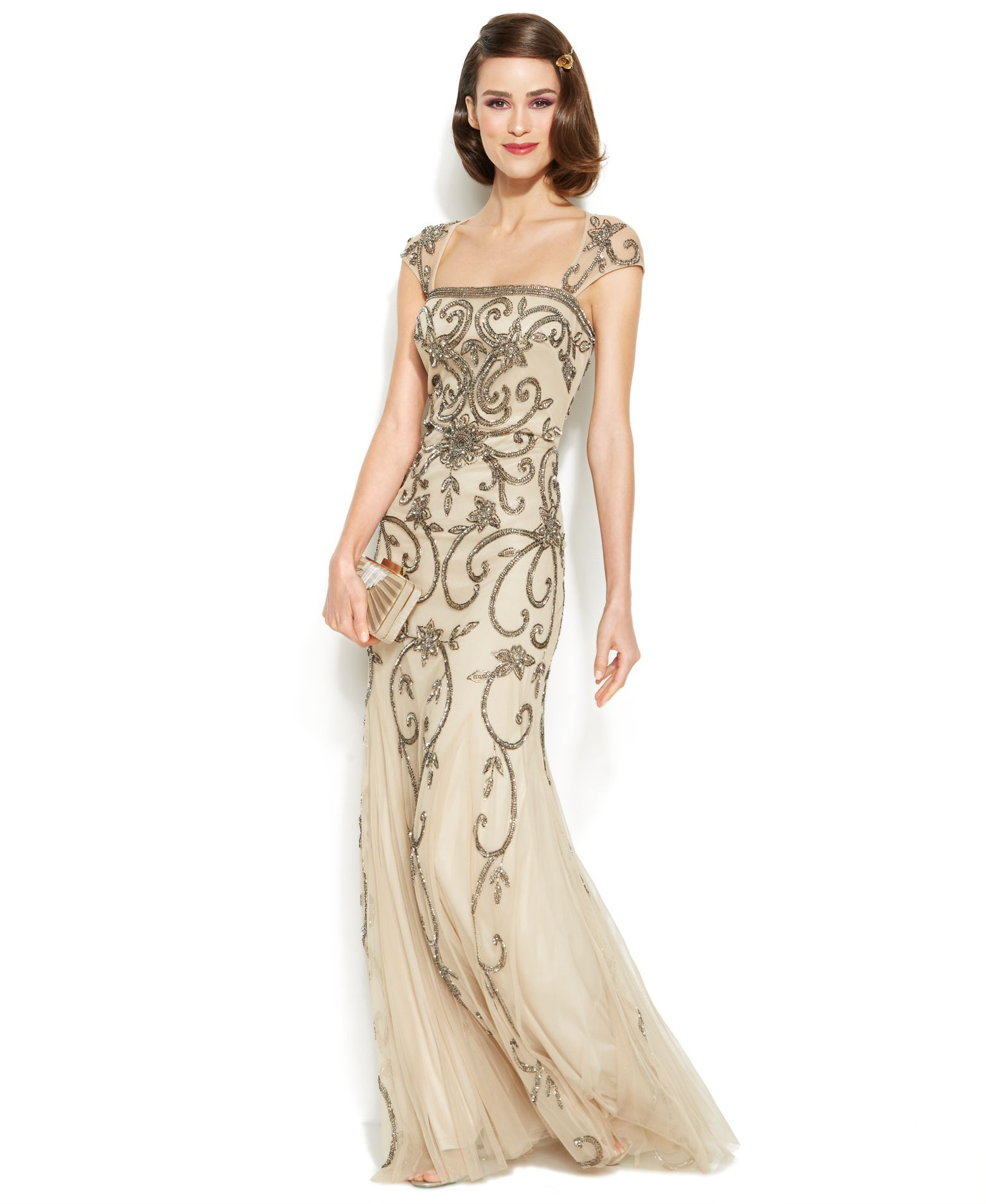 Adrianna Papell Cap-Sleeve Embellished Illusion Gown | Products ...
