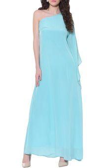 3bd6cad9b367b One Side Shoulder Sky Blue Kaftan Dress by Red Couture, Kaftans #gown #blue  #lightblue #powderblue #oneshoulder #capesleeve #bareshoulder  #shoulderdetail ...