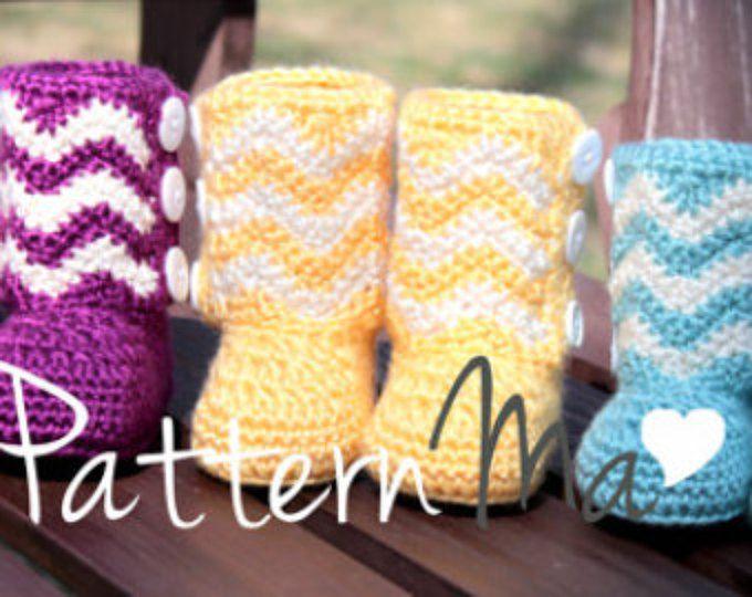 Crochet Baby Boots PDF pattern Chevron #13 | Zapatitos crochet, Para ...