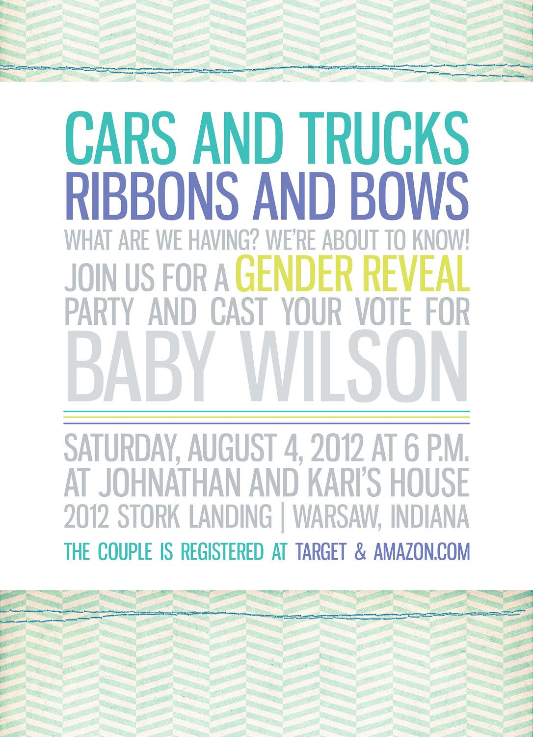 Trucks and Bows Gender Reveal Party Invitation by HalfPintPrints – Baby Gender Reveal Party Invitation Wording
