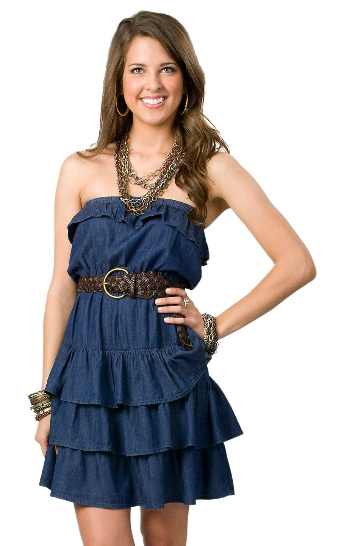 boom boom jeans ladies denim strapless belted layered dress