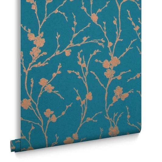 Meiying Wallpaper in Teal from the Exclusives Collection by Graham & B