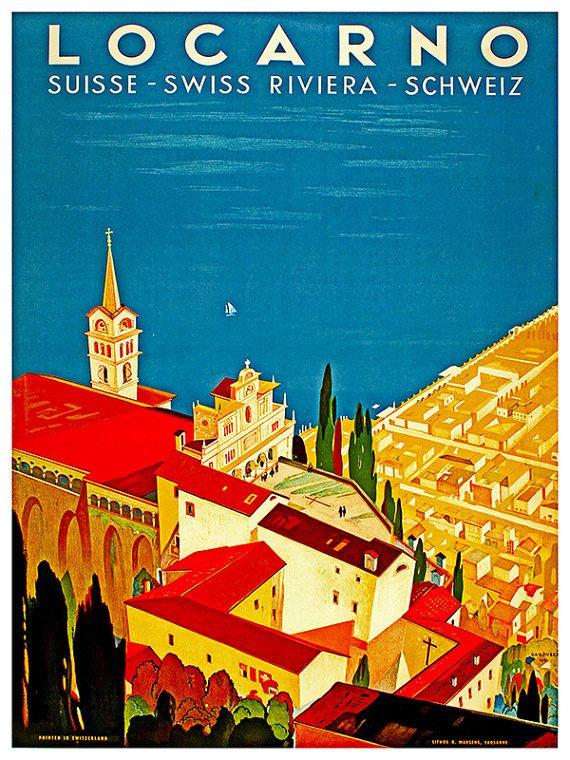 Art Zwitserse reizen Poster Locarno Zwitserland door Blivingstons
