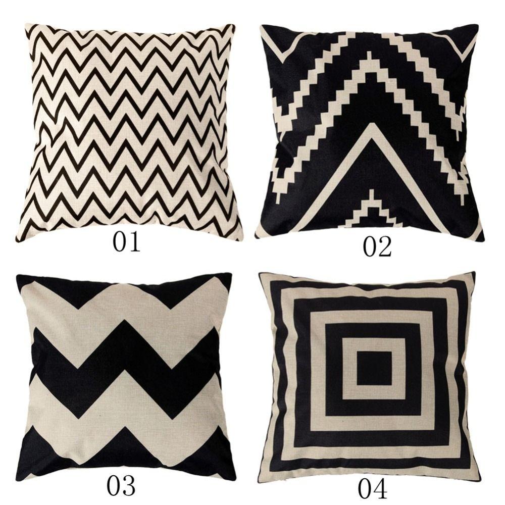 4 Types 45 45cm Vintage Fashion Cotton Linen Cushion Cover Throw