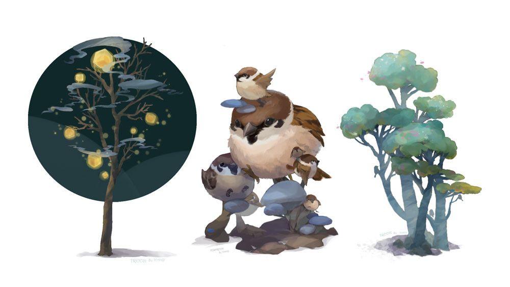 plants, Teanip Cha on ArtStation at https://www.artstation.com/artwork/6wXGx