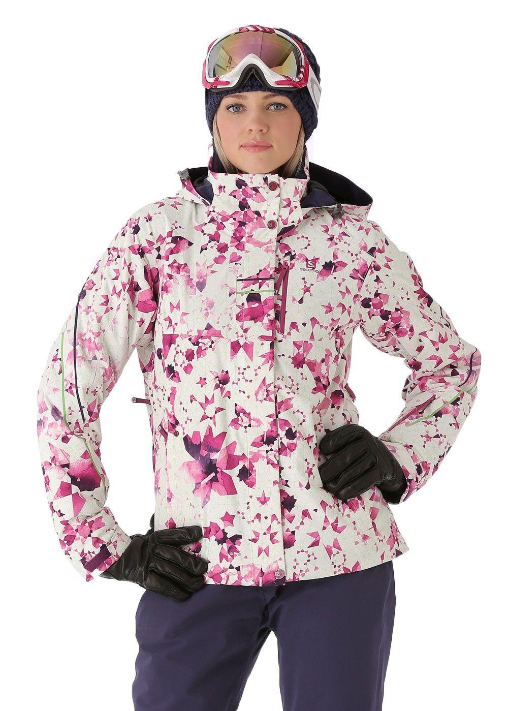 15300422e Salomon Women's Brilliant Jacket (White/Wild Berry) Ski Jackets Women's  Jackets