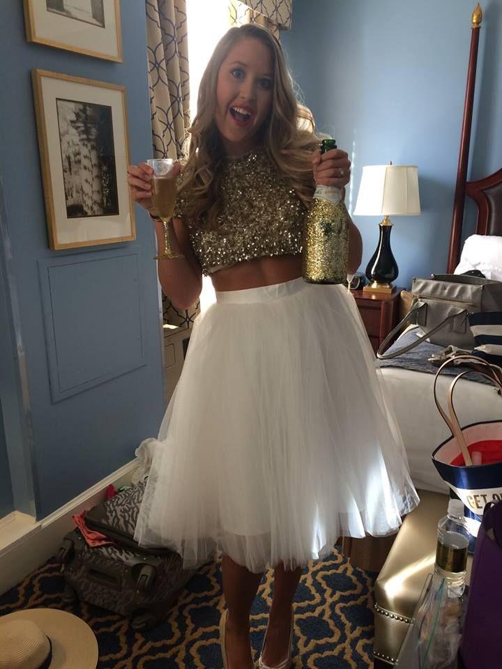 bachelorette party outfit  sparkles champs glitz  glam
