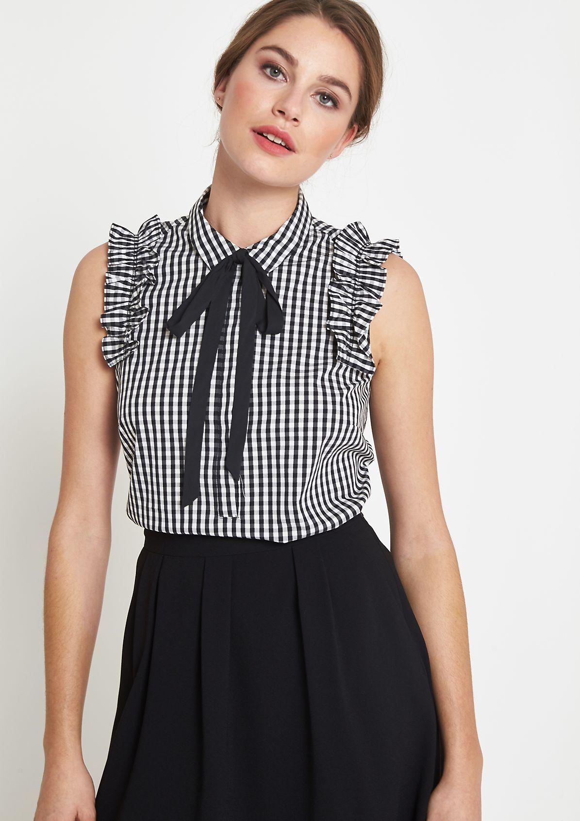 08e8039f3951 Elegant poplin blouse top with ruffle embellishment from comma ...