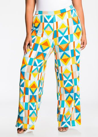2ac1fe2609ade Bright Geo Print Wide Leg Pants