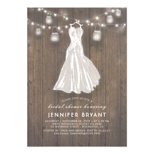 Rustic Bridal Shower Wedding Gown And Mason Jars Invitation Zazzle Com Rustic Bridal Shower Invitations Bridal Shower Rustic Mason Jar Bridal Shower