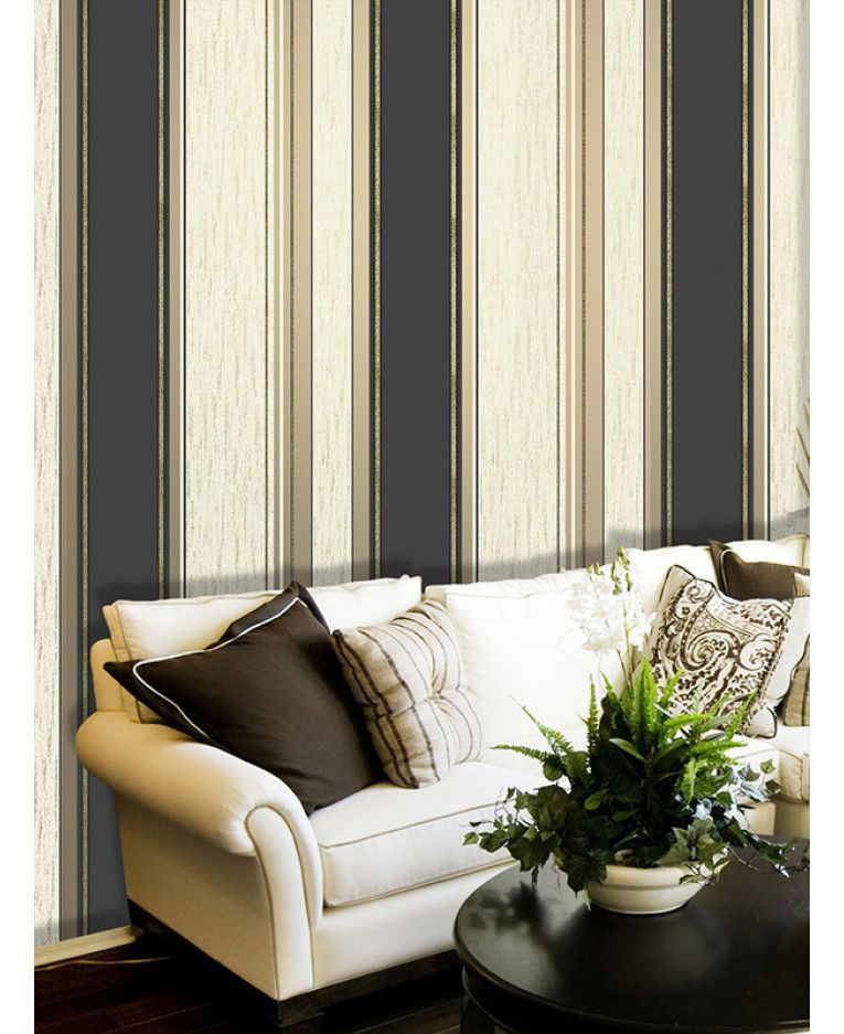 This Synergy Stripe Wallpaper In Black Gold And Cream Has