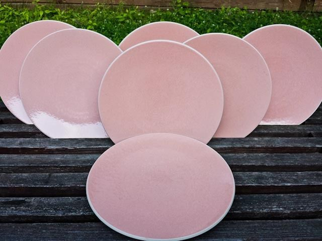 Set of 7 Sasaki Colorstone Dinner Plates Coral Texture Glossy D7528 90s 10.75  #Sasaki & Set of 7 Sasaki Colorstone Dinner Plates Coral Texture Glossy D7528 ...
