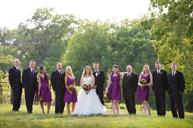 Katie & Jeff's colorful wedding at Chandler Hill Vineyards in purples, limes & lemony yellows florals by Jenny Thomasson AIFD CFD www.stems4weddings.com