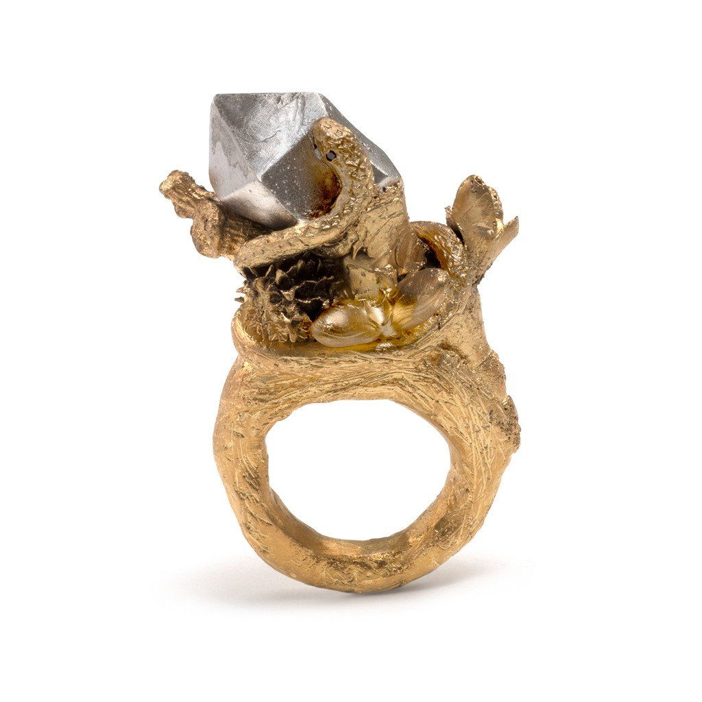 Snake with Branch and Gem Ring