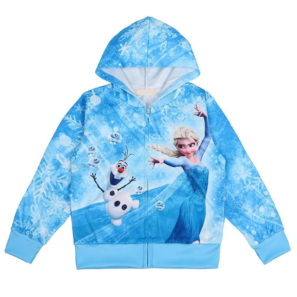 Girls Zip Hoodie Elsa Sweatshirt Children Coat Cartoon Jacket Outwear Blue Cn18nhkegwa Girls Zip Hoodie Outwear Jackets Elsa Sweatshirt [ 1001 x 1001 Pixel ]