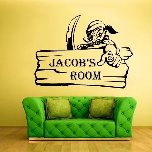 Wall Vinyl Sticker Decals Decor Custom Name Personalized Pirate ...