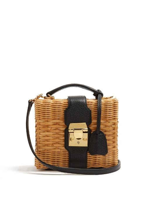 11fb4623d5bf MARK CROSS Harley Rattan And Leather Cross-Body Bag.  markcross  bags  shoulder  bags  hand bags  canvas  leather  lining