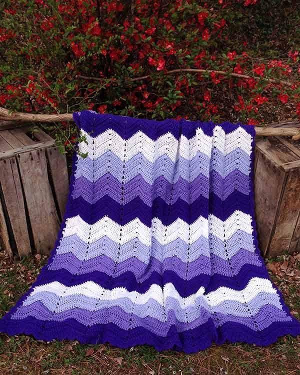 Purple Mountains Majesty Ripple Afghan Crochet Pattern | Cobija ...