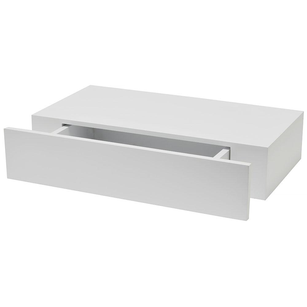 Wallscapes Shelf With Drawer 19 In X 9 875 In Floating White Modern Decorative Shelf 1113283 In 2020 Drawer Shelves Floating Shelf With Drawer Floating Drawer