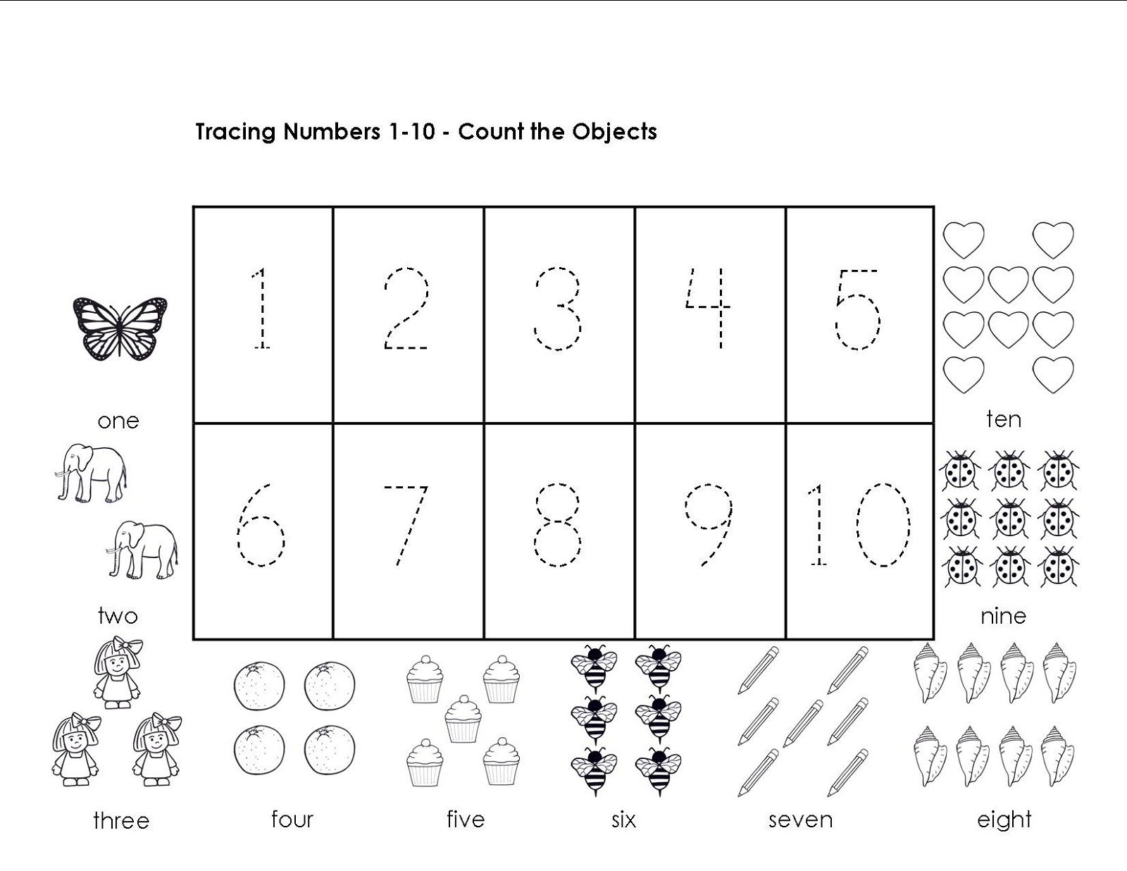 Tracing Numbers 1-10 Worksheets | Kindergarten math ...