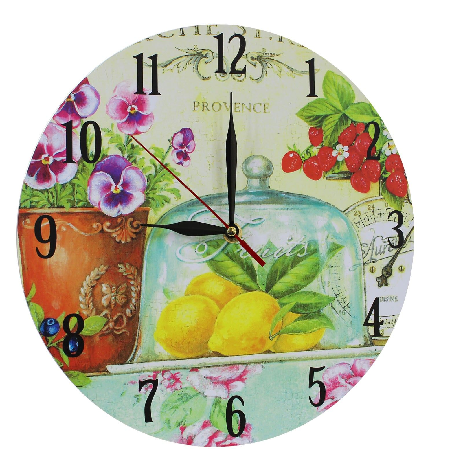 This listing is for one Home Decoration Vintage Style MDF Lemons, Strawberries and Flowers Scene Vintage Style Wall Clock 28 cm. Price £12.99