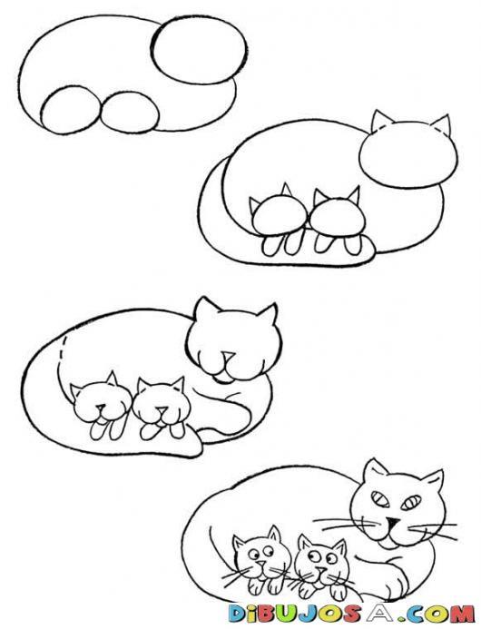 Como Aprender A Dibujar Una Gata Con Gatitos Para Pintar Y Colorear