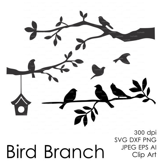 Bird Branch Cut File (eps, svg, dxf, ai, jpg, png