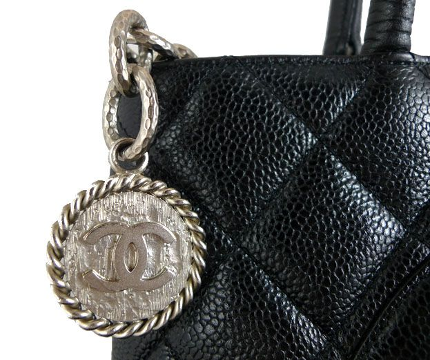 2bafbe633cf8 Chanel Medallion Black Caviar Silver Hardware Shopper Tote Bag ...