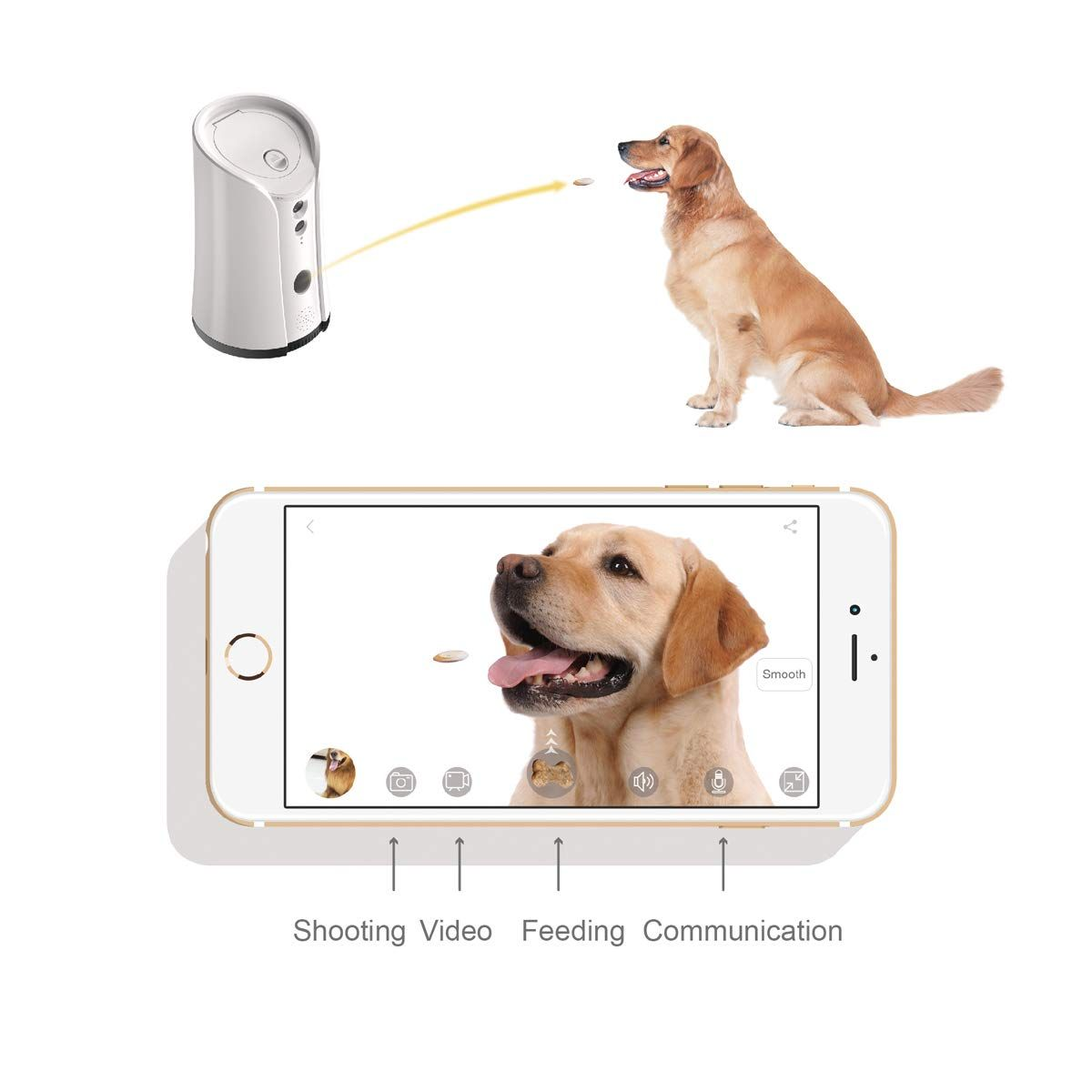 Skymee Petalk Ai Dog Camera Treat Dispenser Wifi Remote Pet Camera With Twoway Audio And Night Vision Examine Out This Exc Pet Camera Dog Security Calm Dogs
