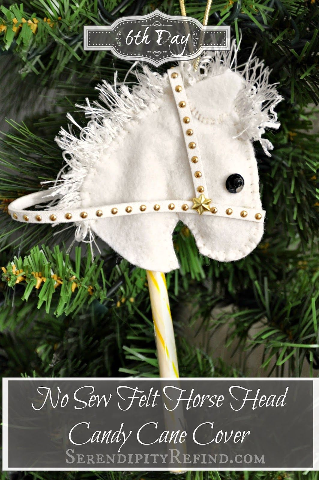 No Sew Felt Horse Head Candy Cane Cover Ornament Day 6
