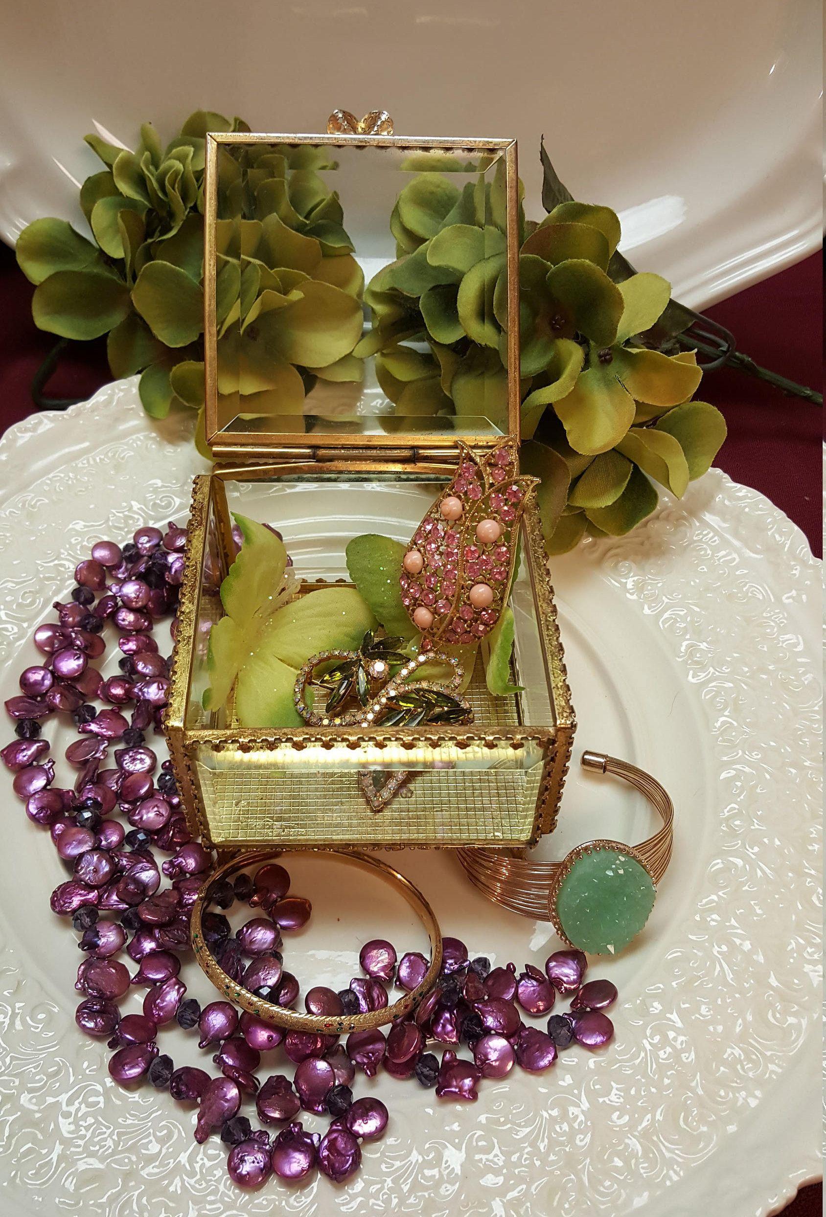 Gold Ormolu Jewelry Box Beveled Glass Vintage Jewelry Casket Ring