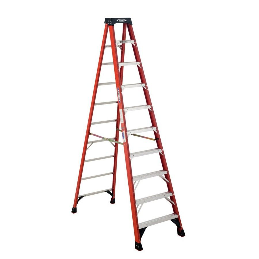 Werner 10 Ft Fiberglass 300 Lb Type Ia Step Ladder Step Ladders Ladder Fire Escape Ladder