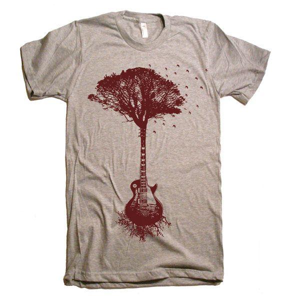 4549fe1a1 Mens Guitar Tree Of Life Science T Shirt - American Apparel Tshirt - XS S M  L XL