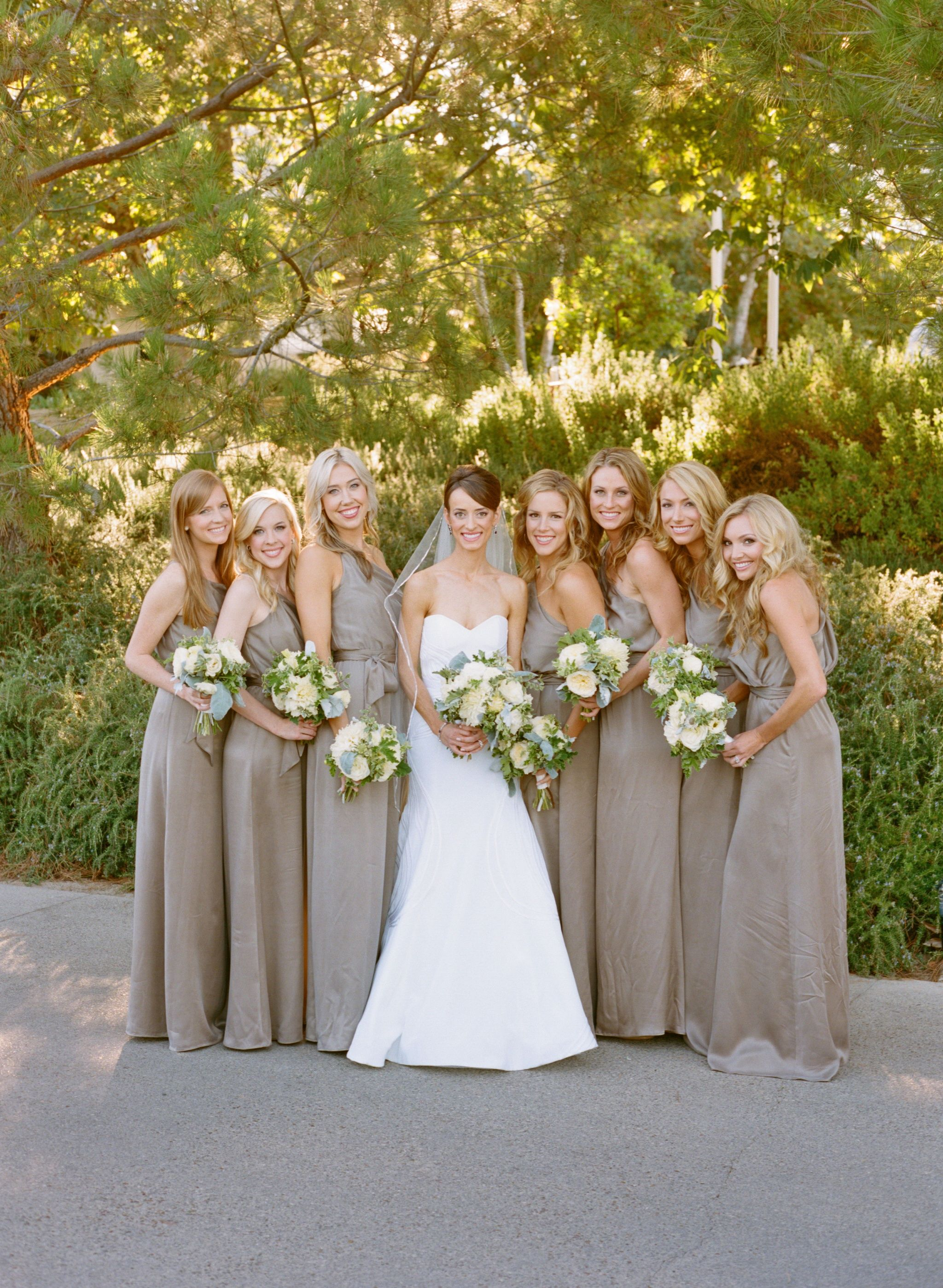 One-Shoulder Champagne Bridesmaid Gowns | Bella Bridesmaid | Aaron ...