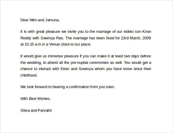 Official Marriage Invitation Letter Format  Gallery Image
