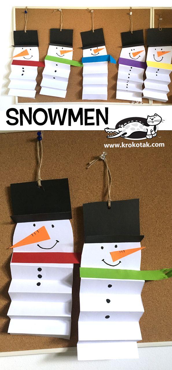 SNOWMEN- ACCORDION FOLD (krokotak) #holidaycraftsforkidstomake