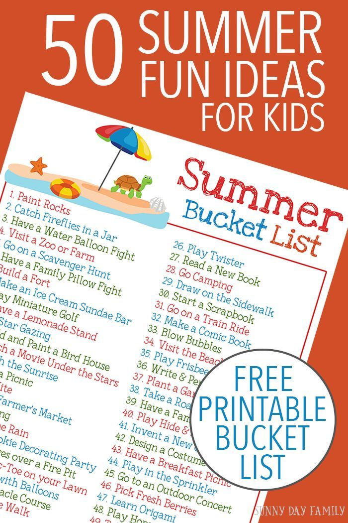Ideas For Kids Bedroom: 50 Summer Fun Ideas For Kids With A Free Printable Summer