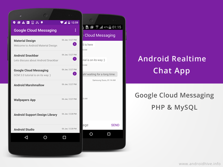 android realtime chat app using gcm php mysql | Technical