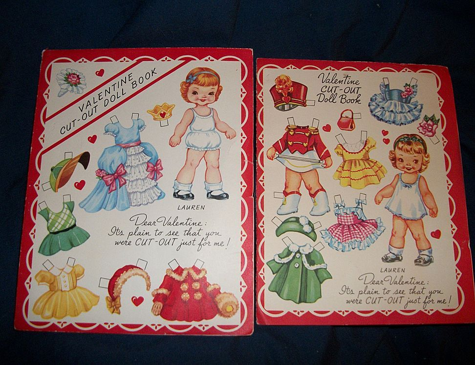 2 Vintage Valentine Cut out paper doll cards uncut A-Meri-Card USA Free Postage and Insurance US Buyers