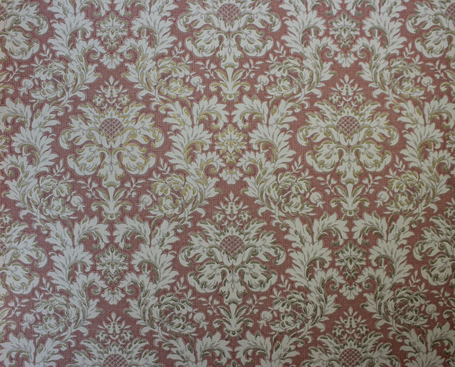 S Vintage Wallpaper White Damask With Gold By Rosieswallpaper