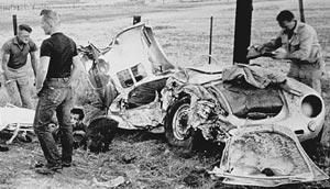 a photo of james deans totaled 1955 porsche spyder after the crash that killed