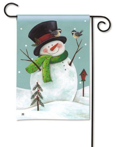 """Woodland Snowman Garden Flag by BreezeArt. $10.99. Machine washable, gentle cycle.. BreezeArt Decorative Garden Flag Dimensions: 12.5"""" x 18"""".. Buy direct from Flags On A Stick and save on all your decorative flags today!. Silky Soft, Fade and Mildew Resistant SolarSilk Fabric.. WOODLAND SNOWMAN BreezeArt® Garden Flag Fly a flag that is simply better. BreezeArt Premium Decorative Flags® by Magnet Works Ltd. have set a new standard in quality and attractiveness. Featuri..."""
